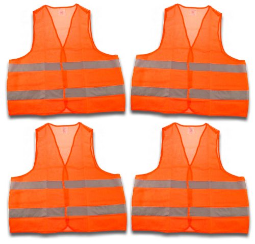 Warnwesten im 4er Pack EN 471 orange