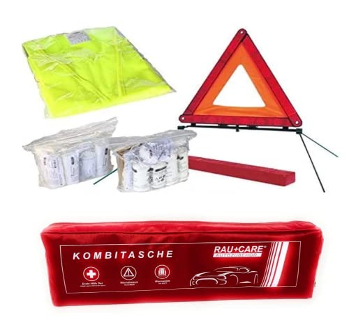 KFZ Erste Hilfe Set bis 4/2019 Kombitasche rot, Erste Hilfe nach DIN 13164 + Warndreieck ECE + Warnweste EN