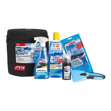 SONAX 764200 Winter-Set A.T.U mit GummiPflege, ScheibenEnteiser, KlarSichtMicrofaserTuch, AntiFrost&KlarSicht Konzentrat und Eiskratzer